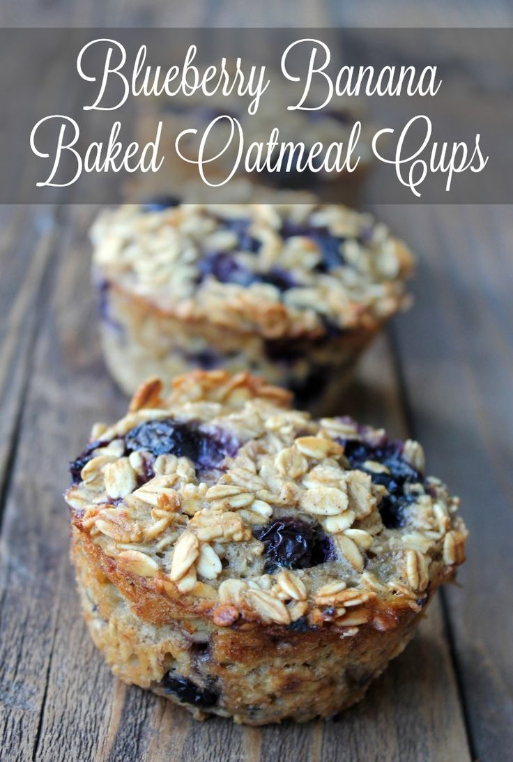 Blueberry Banana Baked Oatmeal Cups. Healthy breakfast recipe you can make-ahead of time.