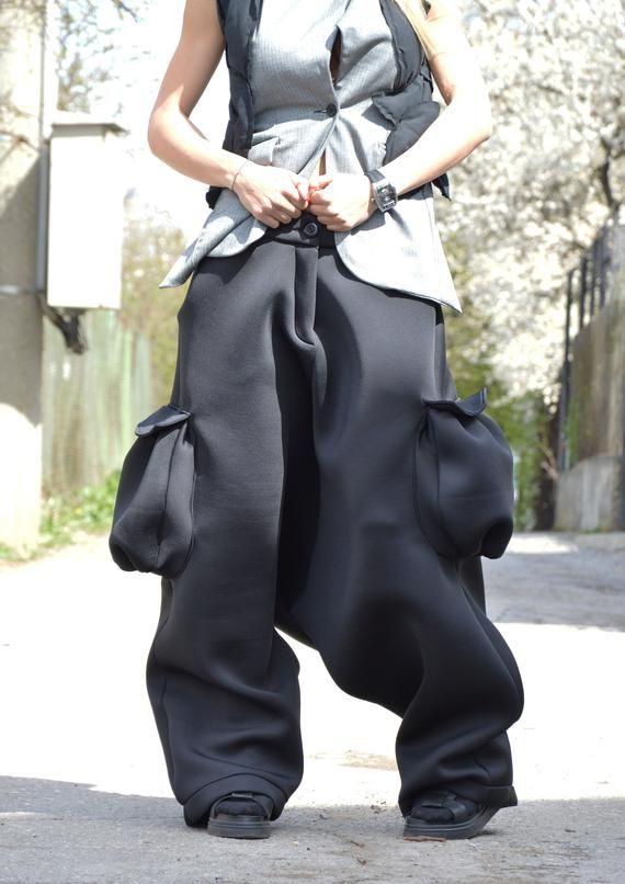 6c866aa90d9 Neoprene Black Loose Pants