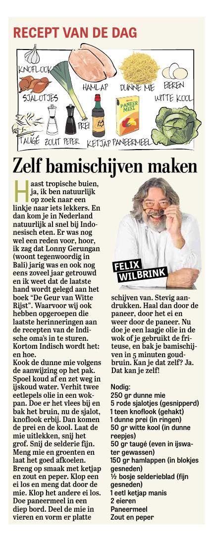 Felix Wilbrink (@FelixWilbrink) recept zelf bamischijven maken