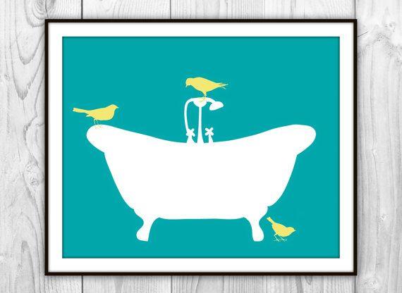 Birds On Bathtub Art Print Teal White Yellow
