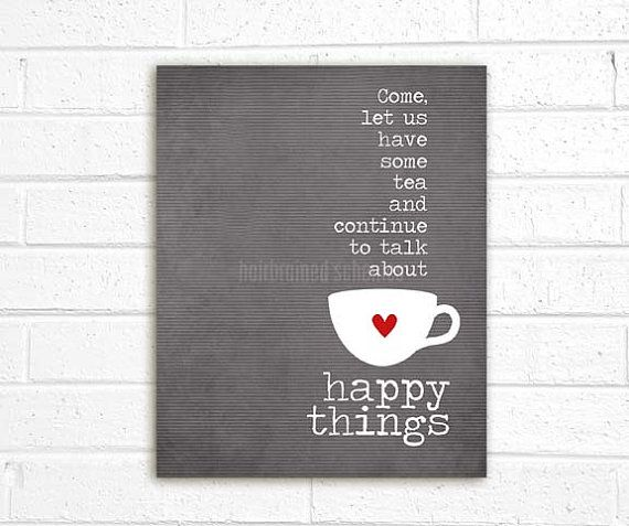 Tea and Happy Things  charcoal grey by hairbrainedschemes on Etsy, $15.00