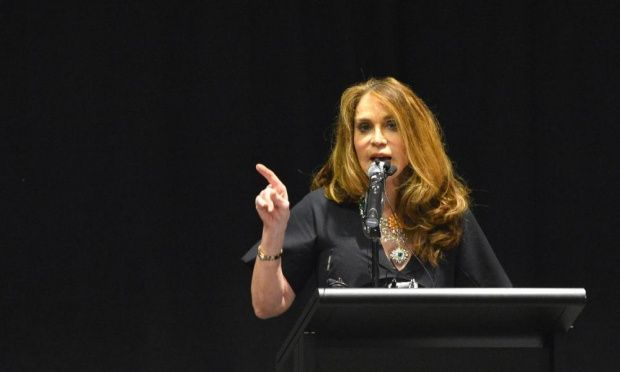 US activist Pamela Geller addresses the audience at the Muhammad Art Exhibit and Contest at the Curtis Culwell Center in Garland, Texas on Sunday.