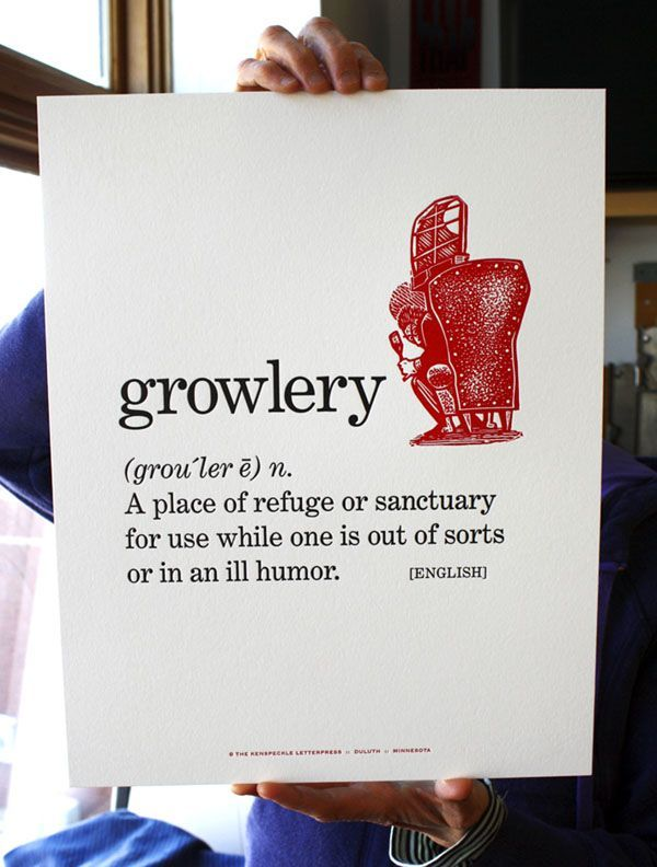 Growlery, letterpress broadsheet with original linocut by Rick Allen, Kenspeckle Letterpress