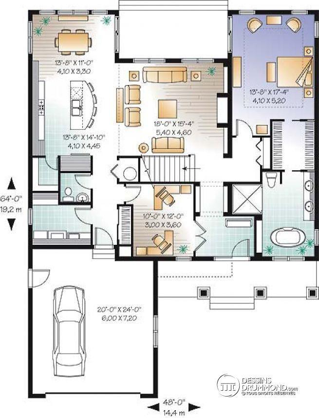 plan maison 4 chambres garage