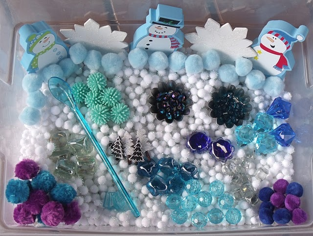 Winter Sensory Tub//great for visual perceptual figure ground fun activities, and use tongs, tweezers to add a FM element