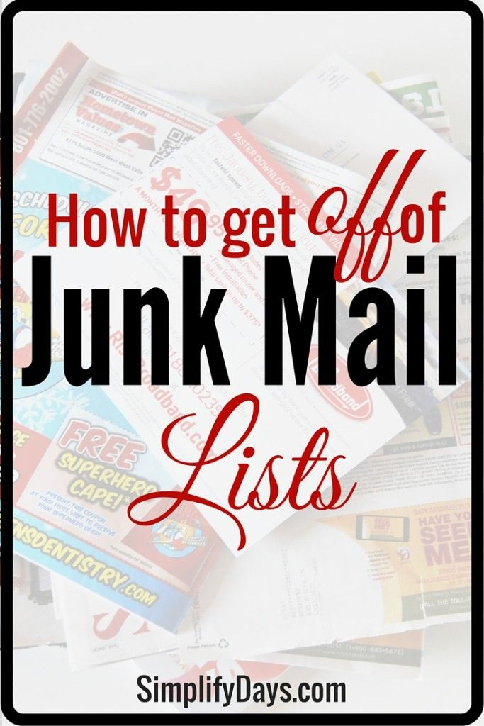 Did you know you can permanently get off of junk mail lists? This post will give you the resources to get of off credit card & insurance offer lists, and off of direct mail marketing lists. It will also teach you how to stop receiving catalogs and other mailers. Cut the clutter, get rid of paper piles and get off of junk mail lists! // SimplifyDays.com