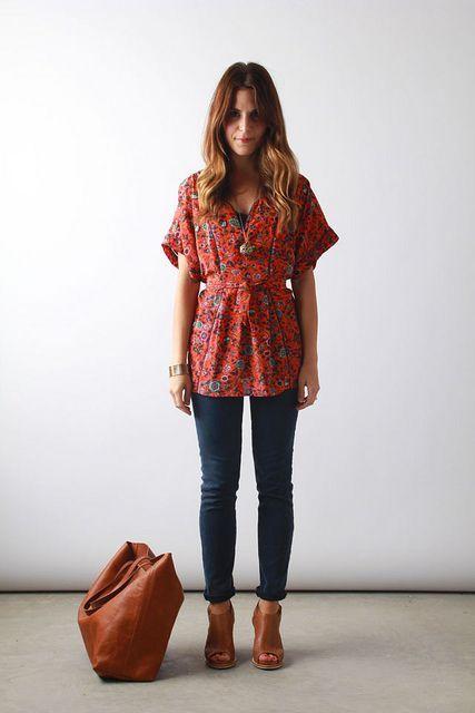 Anthropologie kimono top, AG jeans, Rag & Bone wedges, Madewell tote | Perpetually Chic