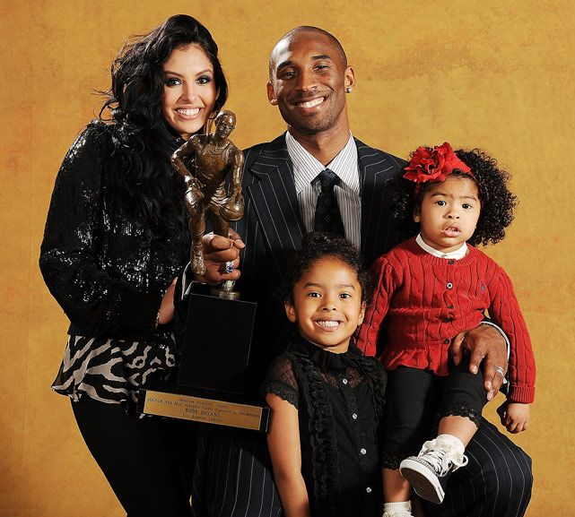Kobe after winning the MVP with his family - Vanessa Bryant & his 2 children