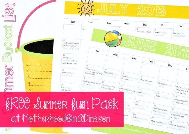 Free Summer Bucket List Printable + 2 FREE Summer Activity Calendars