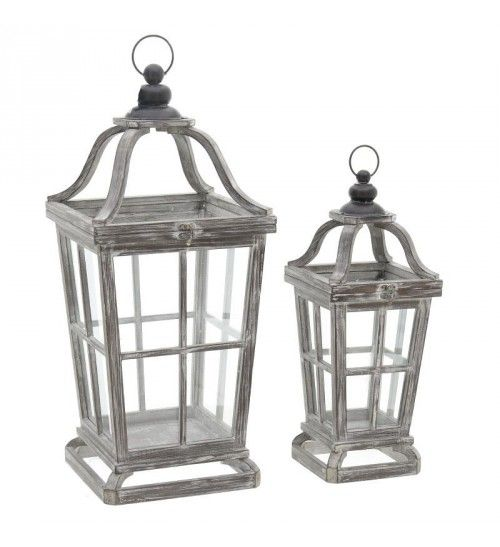 S_2 WOODEN_METAL LANTERN IN BROWN GOLDEN COLOR 30X30X69