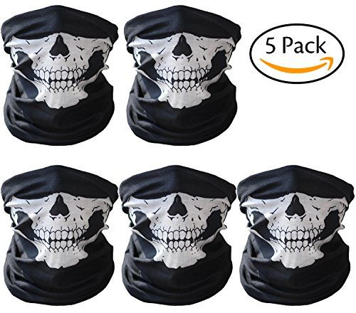 CandyHome 5 Pack Seamless Skull Mask Motorcycle Bicycle Half Face Tube Skeleton Mask - Black  GREAT MATERIAL - Skull mask is made of microfiber polyester, absorption moisture, windproof, sweat wicking, anti-UV, anti-bacterial odor. Skull face mask keep you warm in winter and reduces humidity in summer.  SUIT MANY ACTIVITIES - Half face mask for Cycling, Hiking, Camping, Skiing, Climbing, Fishing, Hunting, Jogging, Motorcycling, Tennis etc. For men, women, child, teen, adult in any outd...