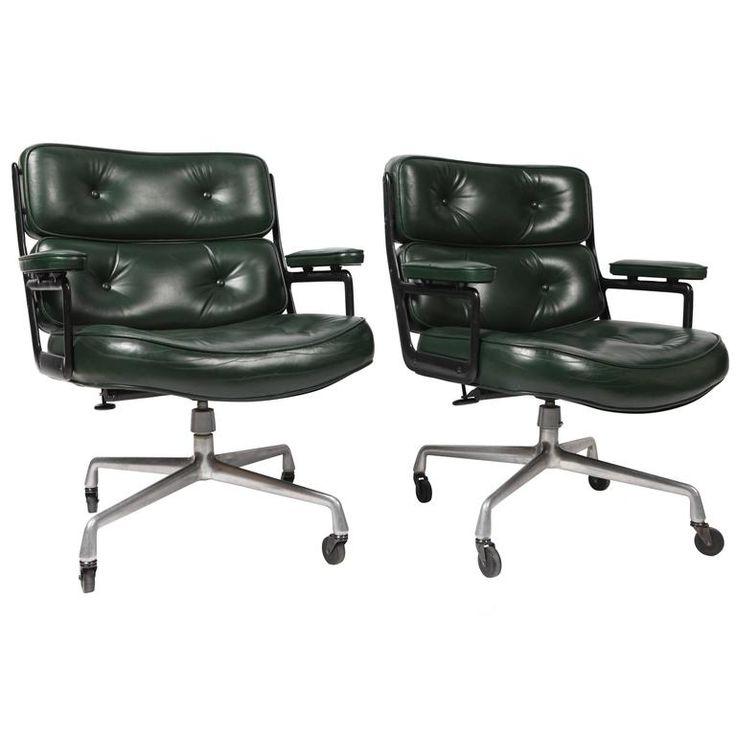 pair of eames es 106 green leather desk chair - Herman Miller Schreibtisch Veranstalter