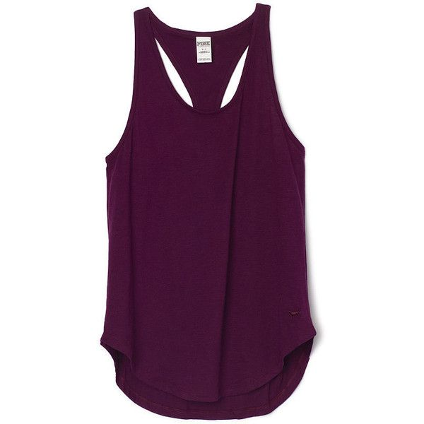 PINK Essential Racerback Tank ($20) ❤ liked on Polyvore featuring tops, tank tops, shirts, tanks, purple shirt, layering tanks, racer back tank top, purple top and racerback tank top