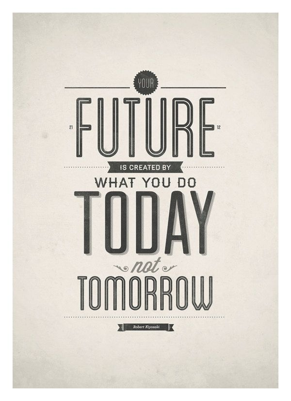 Inspirational quotes poster - Your future is created by today - typography quote print A3