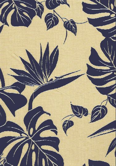 50bird monstera - Maize Tropical Hawaiian leafy reversible cotton apparel fabric with monstera leaves and birds of paradise flowers..