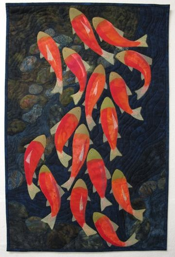 "Salmon Run, 17 x 26"", by Gay Walker.  Fibre Art Network (Western Canada)"