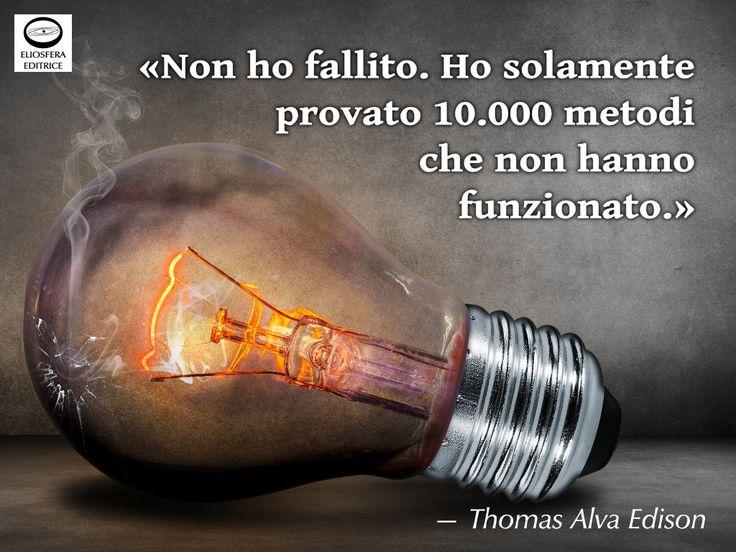 In tema con il precedente post su Beckett, un esempio di come i fallimenti sono i pilastri del successo. Senza i migliaia di fallimenti di Edison non avremmo la luce dall'energia elettrica. Ti piace questa citazione? «Non ho fallito. Ho solamente provato 10.000 metodi che non hanno funzionato.» — Thomas Alva Edison (Milan, 11 febbraio 1847 – West Orange, 18 ottobre 1931), inventore e imprenditore statunitense. #ThomasEdison, #fallimento, #successo, #cit, #citazioni…