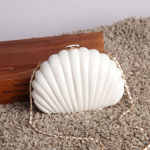 Venda da fábrica 2016 Mulheres Shell Branco Sacos de Noite de Embreagem Mini saco de Moda Dia Bolsa Da Embreagem Do Partido Liga Dura carteira Pequena sacos