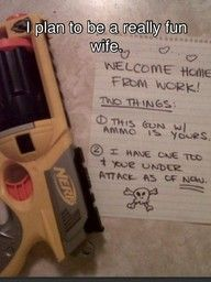 Umm, yes, that will be me in the future.Oneday, Nerf Guns, Cute Ideas, Future Husband, Funny, Kids, Dates Night, Marriage, Relationships