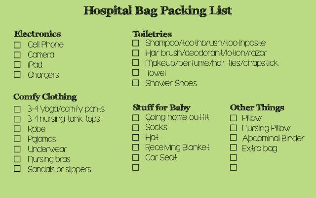 C-section Hospital Bag Packing List .... I wish i knew I was having a c section