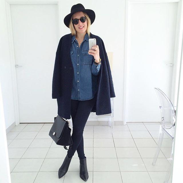 D e n i m #outfit #todayimwearing • manteau #zara • chemise (new co) #mango • pantalon #mango • boots #jensen #acne • chapeau #maisonmichel • sac #trapeze #celine  Il manquait chemise en jean au bleu parfait dans mon dressing.