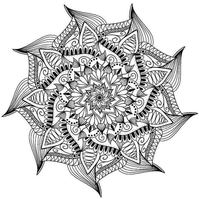 Bild Mit Einem Wiederholungsmuster Zum Ausmalen Komplexe Linien Lotusform Spiralen Mandela Art Mandala Art