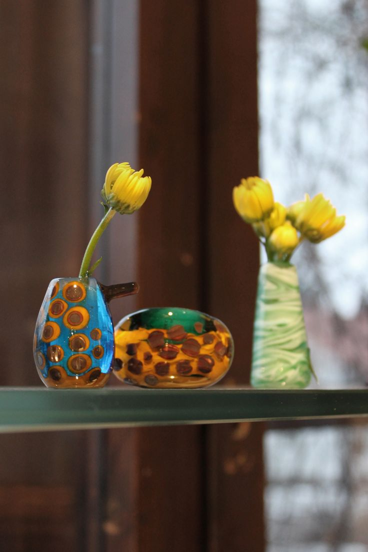 Look at these cuties! Unique mini vases are made with lampworking technique. Design by Mafka, glass artist Marja Hepo-aho.