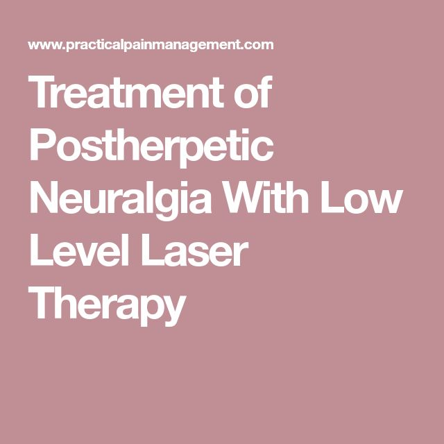 Treatment of Postherpetic Neuralgia With Low Level Laser Therapy