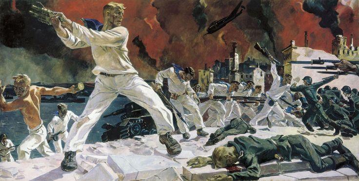 The defense of Sevastopol 1942 year Oil on canvas 200х400 sm St.Petersburg. The Russian Museum