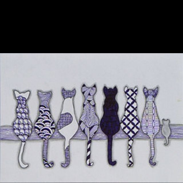 Zentangle Cats and One Mouse love this for an art project- each member of the class could design the line patterns for one cat outline
