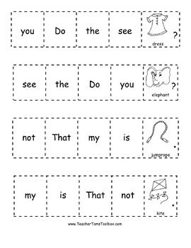 "$3.50 ""Cut-and-Glue Sight Word Sentences for Kindergarten and First Grade""  This set includes over 60 sight words.  Download the preview to get 1 page for FREE!"