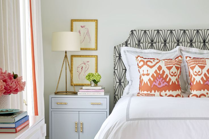 Belle Meade Georgian – Sarah Bartholomew | terrific new traditional bedroom with coral accents