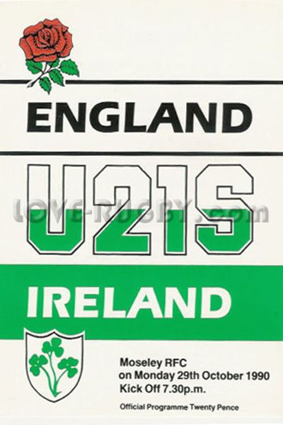 #rugby ♥ 29/10 in 1990 : England U21 16-22 Ireland U21 ♥ rugby match from Moseley UK sees the Irish snatch a rare but valuable victory away from home.  http://www.ticketsrugby.com/rugby-tickets/games/Ireland-England-rugby-tickets.php