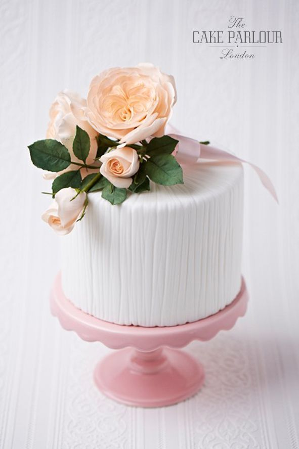 'David Austin Rose' Wedding Cake -  Simple textured single tier cake topped with a handcrafted sugar David Austin Rose spray.