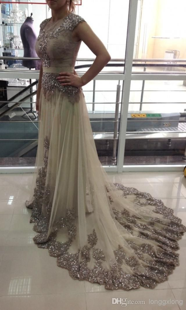 2015 Evening Dresses Sequins Crystal Appliques Cap Sleeve Sash Tulle Court Train Glamorous Zipper Prom Gowns BO6306 _Buy High Quality Dresses from Dress Factory - Babyonlinedress.com