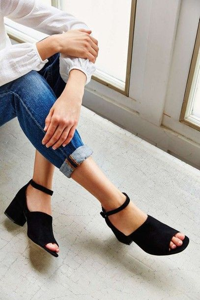 Shoes: black sandals, black heels, sandals, medium heels, minimalist shoes…