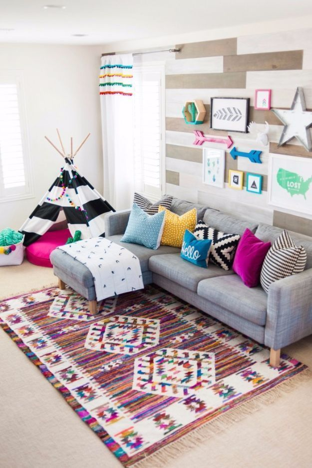 DIY Playroom Ideas and Furniture - Colorful Boho Playroom - Easy Play Room Storage, Furniture Ideas for Kids, Playtime Rugs and Activity Mats, Shelving, Toy Boxes and Wall Art - Cute DIY Room Decor for Boys and Girls - Fun Crafts with Step by Step Tutorials and Instructions http://diyjoy.com/diy-playroom-ideas #kidsroomsdecorboho #kidsroomsdecorforboys #kidsplayroom