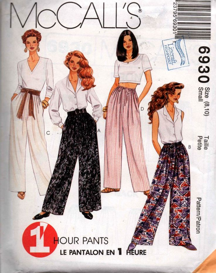 McCall's 6930 Womens Pull On Wide Leg Casual Pants 90s Vintage Sewing Pattern Size 8, 10 UNCUT Factory Folds
