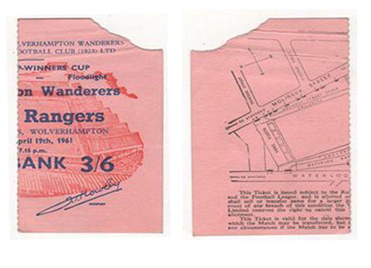 1961 European Cup Winners Cup Semi final 2nd leg Wolves v Rangers ticket