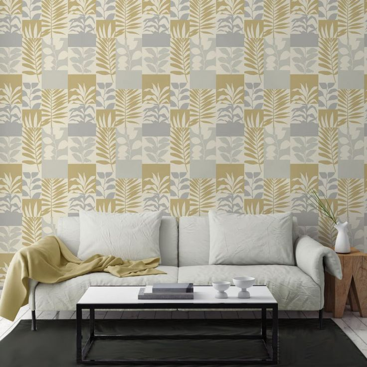 Crown Alexis Leaf Gold Wallpaper M1384. Crown Alexis Leaf, a gold and silver floral print block design with  silver glitter highlights on an ivory background. Co-ordinates with Alexis Texture.