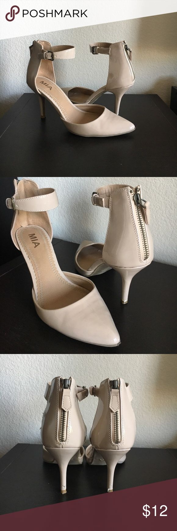 Nude Strappy High Heels Nude strappy heels with zip up closure - Mia™ brand size 7 in US Women's shoes Mia Shoes Heels