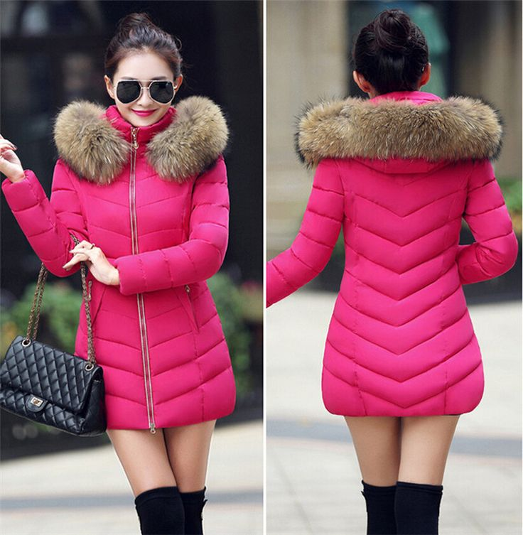 19 Colors 2015 Winter Jacket Women Fur Thick Winter Coat Women Warm Long Hooded Down Cotton Padded Womens Parka Coats D060