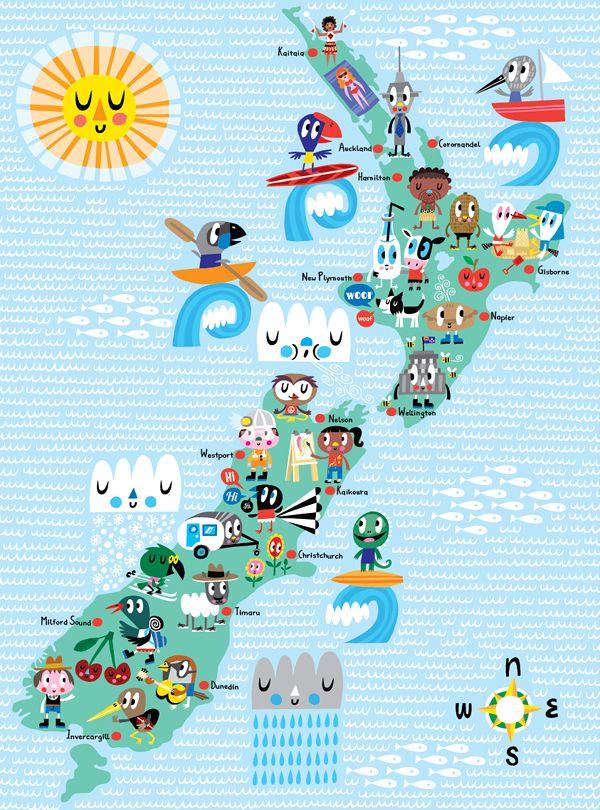 Fun New Zealand kids map poster by Kissy Kissy Kids #map #newzealand