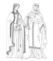 Een kleurplaat van  middeleeuwse kleding