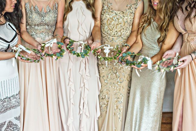 mix and matched gold sparkly bridesmaids dresses