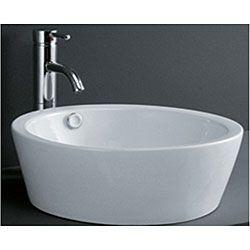 Porcelain Cylindrical Bathroom Vessel Sink