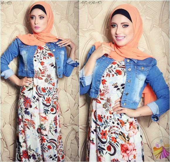 Maxi dress with jacket hijabers