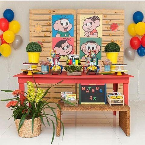 Nós ❤️Turma da Mônica!Painel Pallet, mesa vermelha e peças @decoranda_oficial | Decor incrível ...