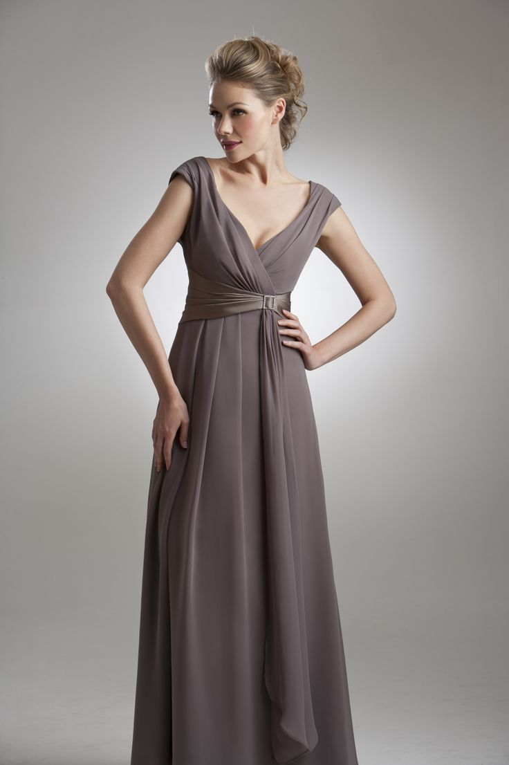 M997. Mocha Bridesmaid dress with V Neck and sparkly buckle detail