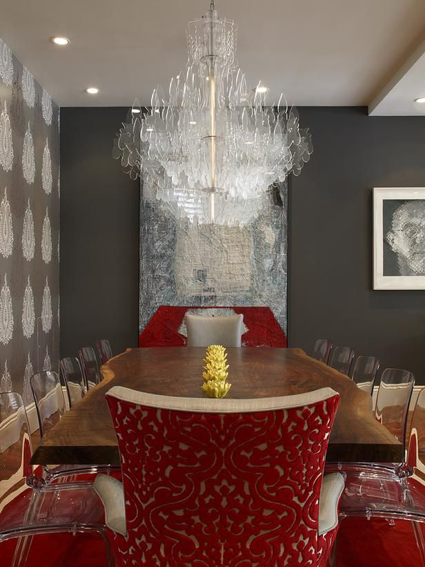 For the host chairs on this dining table, designer Tineke Triggs used the modern ghost chair legs from the side chairs and added rich red fabric from Clarke & Clarke in Florentine Garnet.: Dining Rooms, Artists Design, Tinek Trigg, Design Ideas, Living Room, Ghosts Chairs, Modern Houses, Design Home, Houses Design